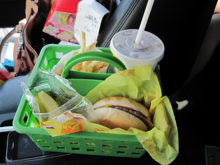 6. Use a shower caddy for clean car eating! Perfect for all those drive-through meals!