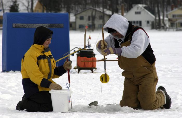 5) Ice fishing.