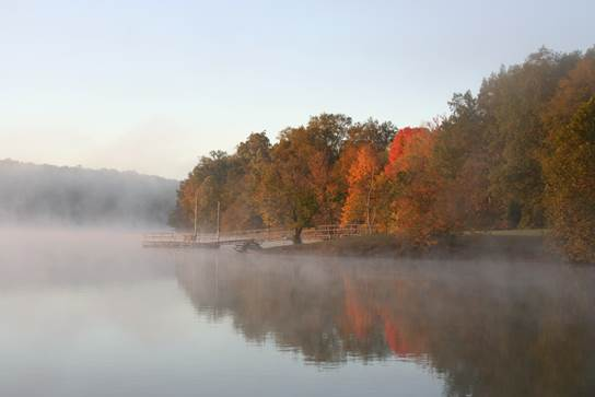 1) The haze on the water, the misty colors.