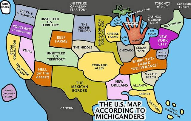 Maps Of Michigan That Are Just Too Perfect And Hilarious - Michigan on a us map