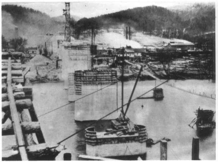 7. This is a view of the construction of the cutoff bridge crossing the Potomac River near Magnolia, northeast of Paw Paw in Morgan County. The bridge was built circa 1913 by the Baltimore and Ohio Railroad.