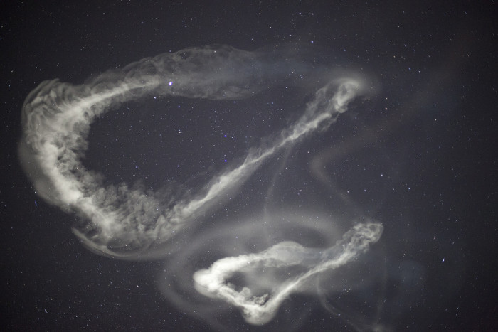 2. While they look like ghostly spirits, these clouds are chemical tracers released by 5 consecutive rockets launched at NASA's Wallop's Island Flight Facility on March 27, 2012.
