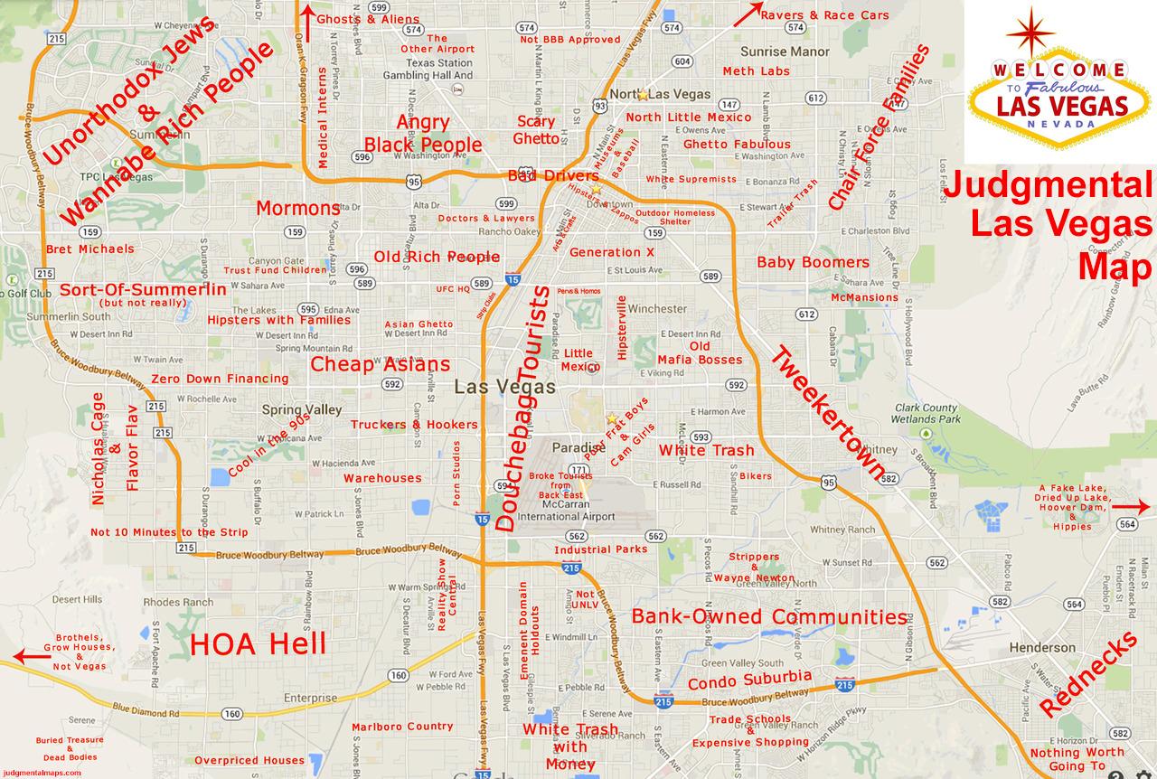 Judgemental Las Vegas Map | Map Of Us Western States