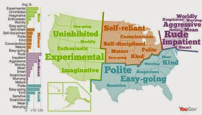 11) A US personality map - in which we are DEFINITELY the most polite.