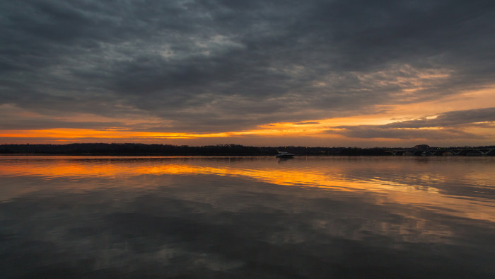 11. The warm glow of a December sunrise over the Potomac River in Old Town Alexandria.