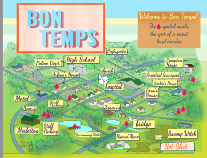 6. A fanciful map for True Blood fans...