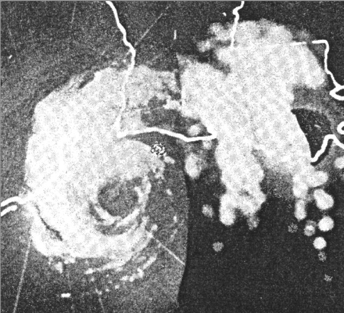 This is the radar of Hurricane Audrey as it headed toward Louisiana.