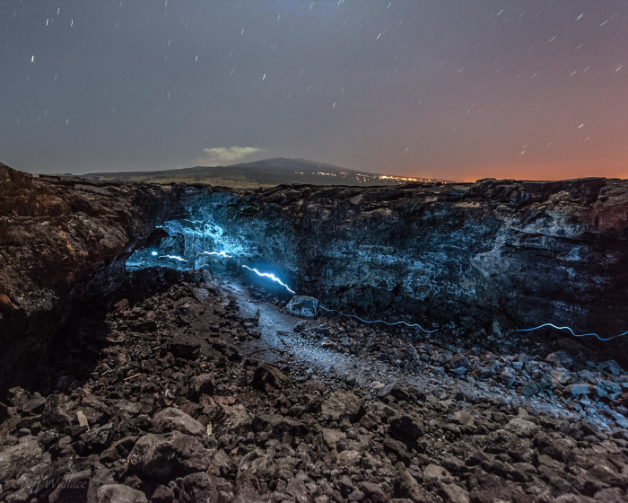 7) This photograph was taken while walking towards the entrance to a lava tube near Makalawena, and the blue light makes the entire shot feel more alien.