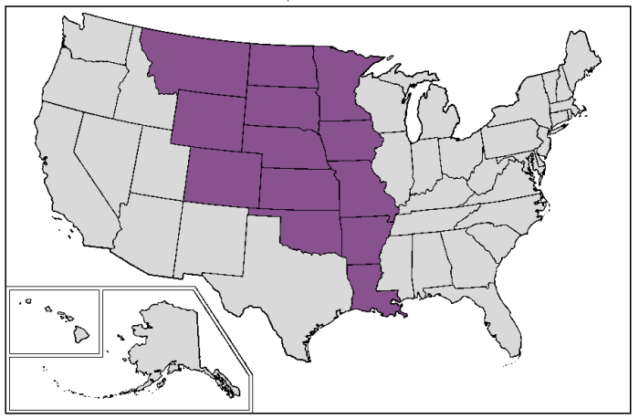 Map of current U.S. states that were completely or mostly located inside the borders of old colonial French Louisiana at the time of Louisiana Purchase