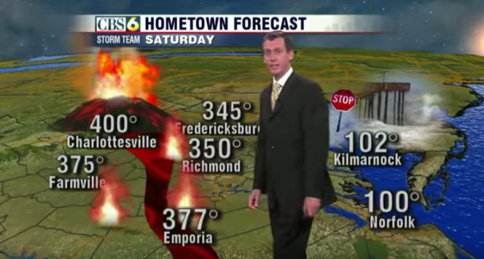 5. When this Richmond weatherman tried to have a little fun with the weekend weather forecast, he was a little closer to the truth than he realized - as anyone who has lived through a Central Virginia summer can attest.