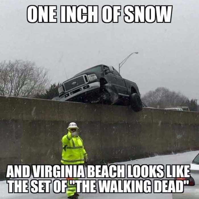 8. Why can't people here drive in the snow?