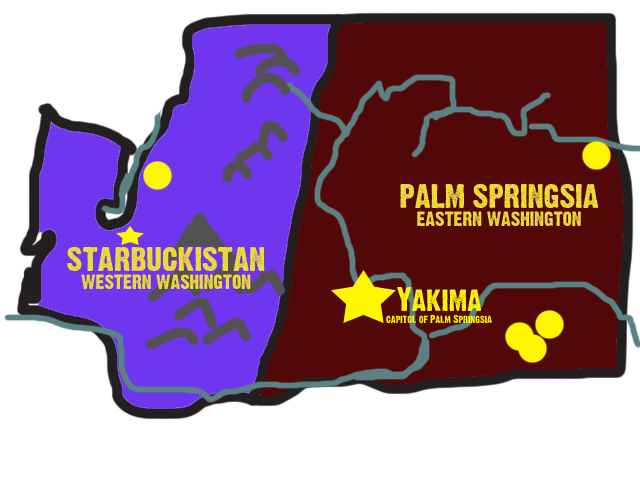 1. This unique illustration shows what it would be like if Eastern and Western Washington were two different states.