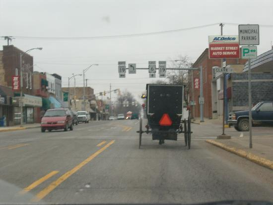 1. It is perfectly normal to see a horse-drawn wagon within this cozy town.