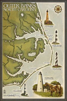 9. A vintage lighthouse map.