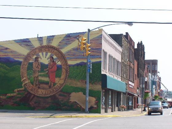 7. Artist Deborah Dorland did this mural of the city seal of Buckhannon in the town's downtown area.