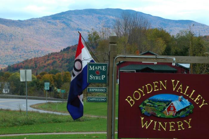1.  Boyden Velley Winery & Spirits - 64 Vermont Rte 104, Cambridge, VT