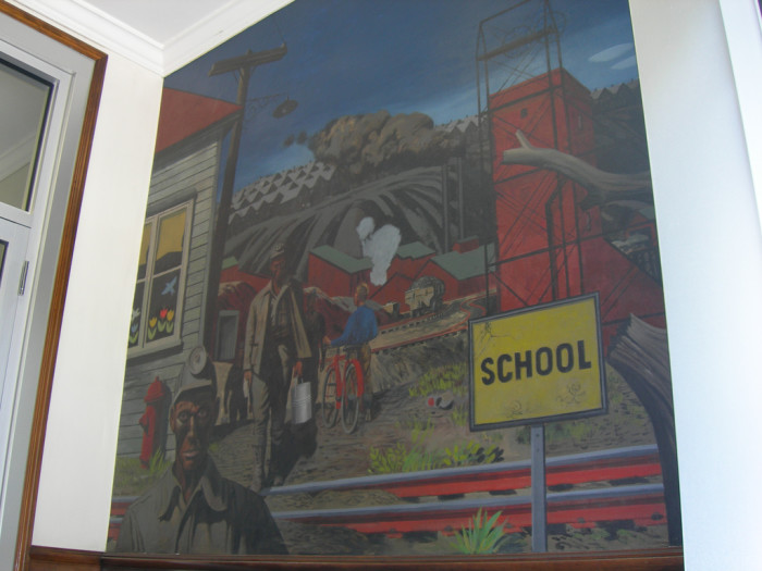"3. This mural of the painting ""Mining Village"" by Stevan Dohanos is on the Forest Building in Elkins."