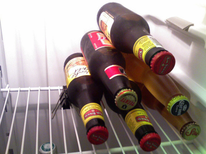 5. Stack your beers with a binder clip to save fridge space (when they're not out in the snow that is).