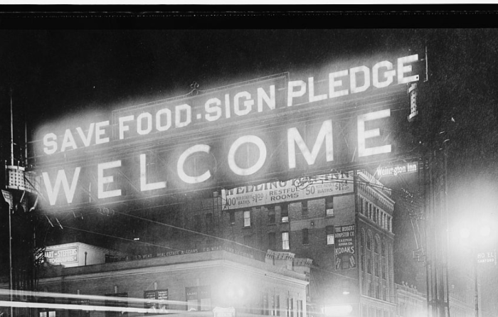 6. Food Administration signs like this one in Omaha (between 1917 and 1919) were common sights  during WWI.