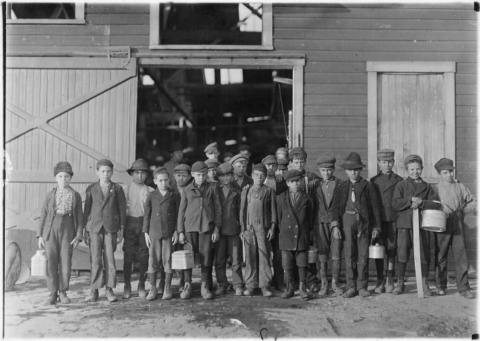 12. Here's a photo of some kids going home from work after a day at the Monaural Glass Works company in Fairmont in October 1908.