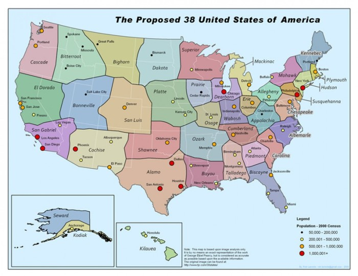 8. The U.S. With George Etzel Pearcy's Proposed 38 States