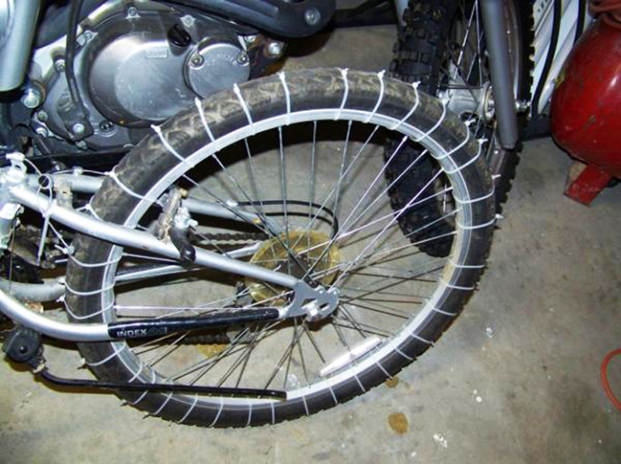 17. Make snow tires for your bike.