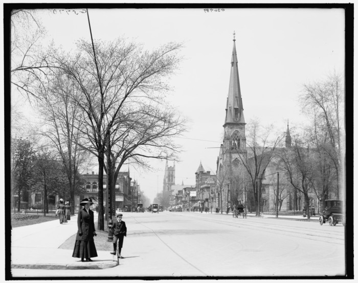 1) Pictured here, Woodward Avenue through Grand Circus Park in Detroit. Central United Methodist Church is on the right.