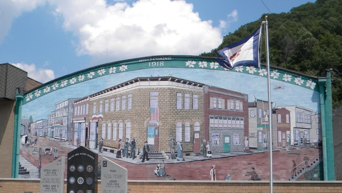 "11. This mural called ""Homecoming"" is in Mullens."