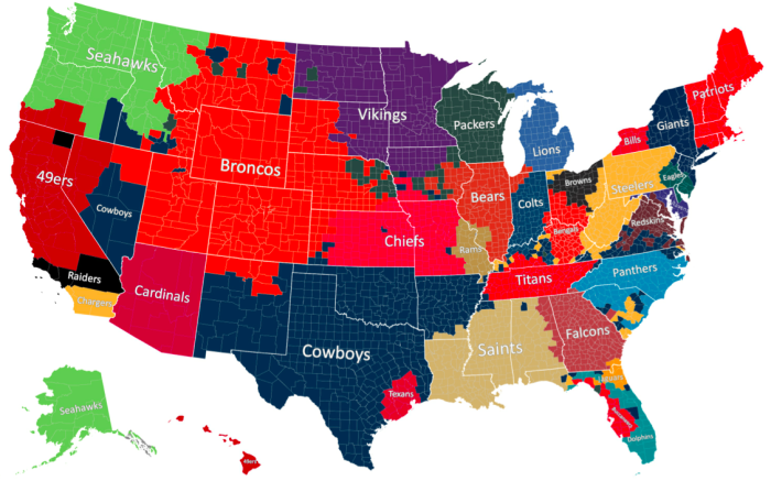 16. The Most Popular NFL Team Broken Down By County