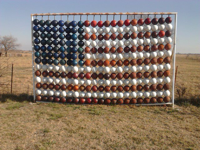 9. Chris Barbee's Bowling Ball Yard Art: Nowata
