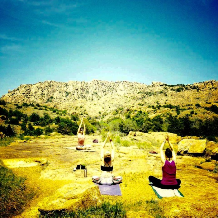 9. Yoga classes are offered in a prime location.