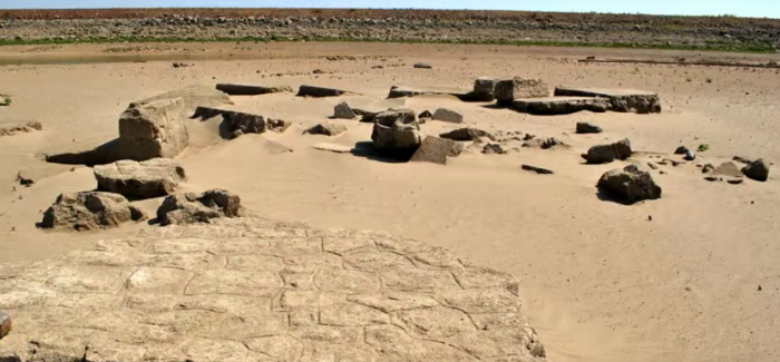 Unknown pieces of the town's history can be seen during seasons of drought.