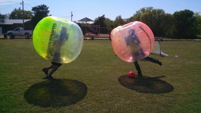 1. Play Bubble Soccer (KnockerBall).