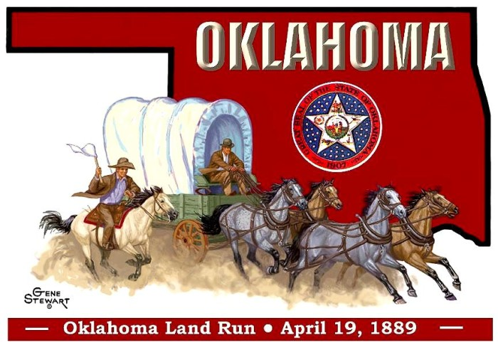 15.  The Land Run was originally supposed to be a raffle. Maybe the most famous, iconic moment in Oklahoma's history nearly never happened. The original idea for the land run was to have all interested land runners fill out a form with their desired section of land.  If their name was called, the land was theirs.