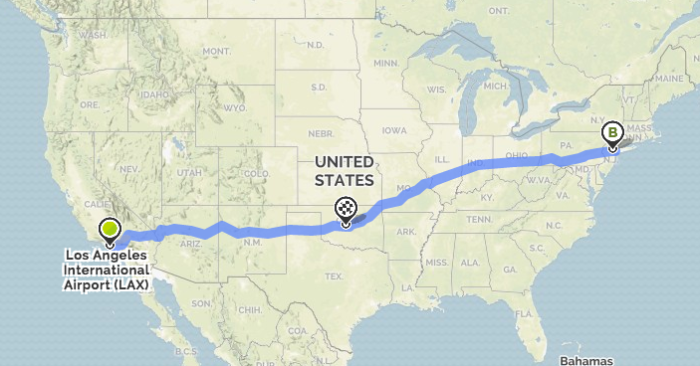 12. Oklahoma City is the same distance from New York and Los Angeles, approximately 1500 miles from each.