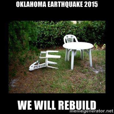 4. This meme might need to change to more than a chair falling over, with all our seismic activity recently.