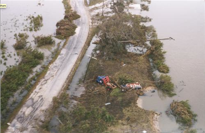 The devastation of Hurricane Audrey included many marshes and rural areas.