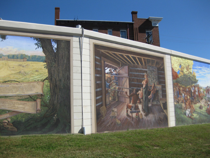 4. This mural depicting the city's history is painted onto the flood walls in Point Pleasant.