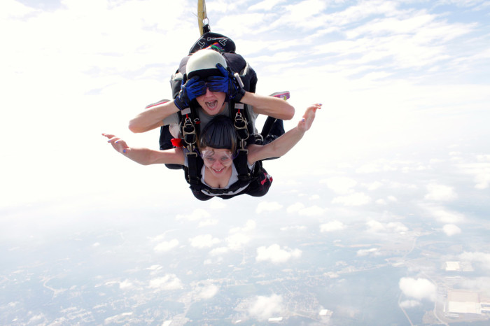 """8. Skydiving in Anderson. If you cover your eyes you can pretend you're at home on the sofa catching up on missed episodes of """"Homeland"""" on your DVR."""