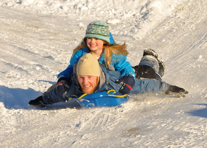 9. Sleds, trash cans lids or intertubes--we will be super creative to get down that big hill!
