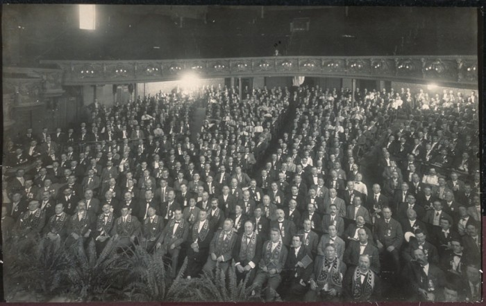 9. These men in the early 1900s are congregated for the fraternal order.