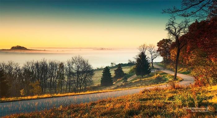 8. Incredible fog lingers at dawn in Jo Daviess County.