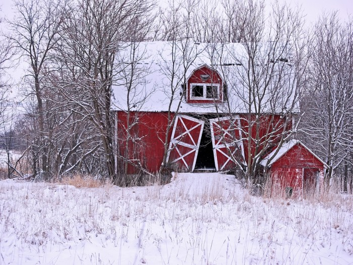 4. Snow gives new life to an old barn.