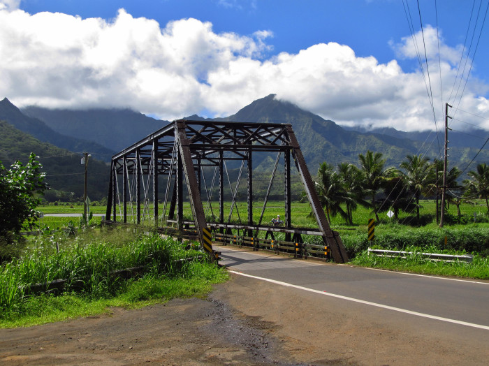 Located on Kauai's north shore, visitors must cross the single lane Hanalei River Bridge to enter the charming town.