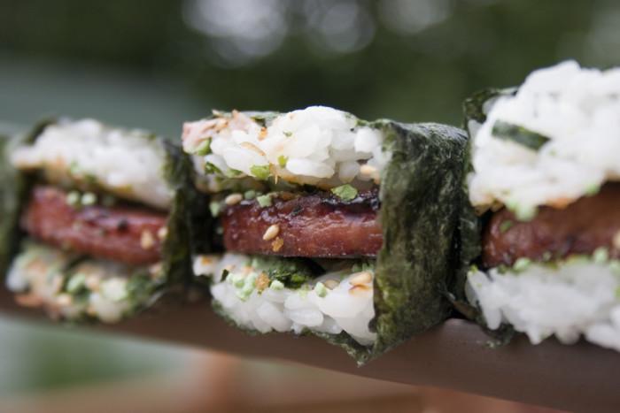 1) Spam + Seaweed + Rice = Spam Musubi