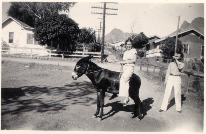 5. This girl is enjoying a ride on a donkey in Globe in 1933.