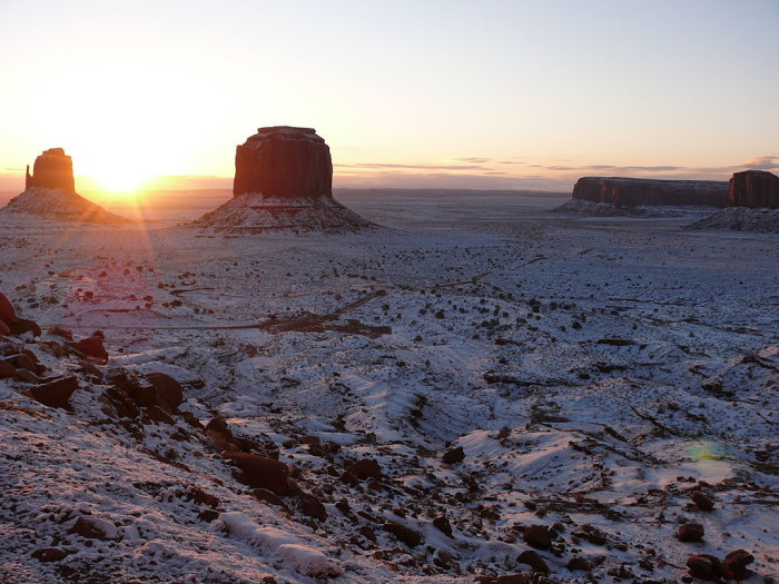 5. Another jaw dropping snow spot? Monument Valley.