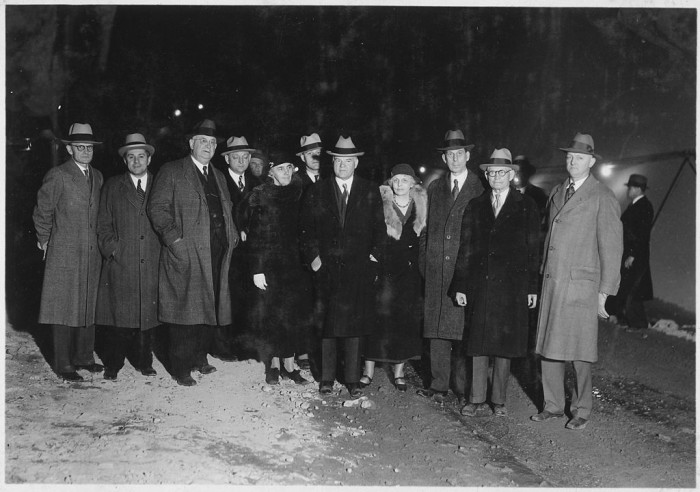 4. This shows President Hoover and his crew completing an inspection of Hoover Dam (then known as Boulder Dam) in November 1932.