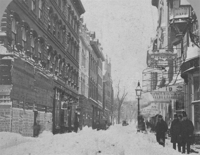 16. Boston's Winter Street in 1860. Let's not forget snowy scenes from years past.