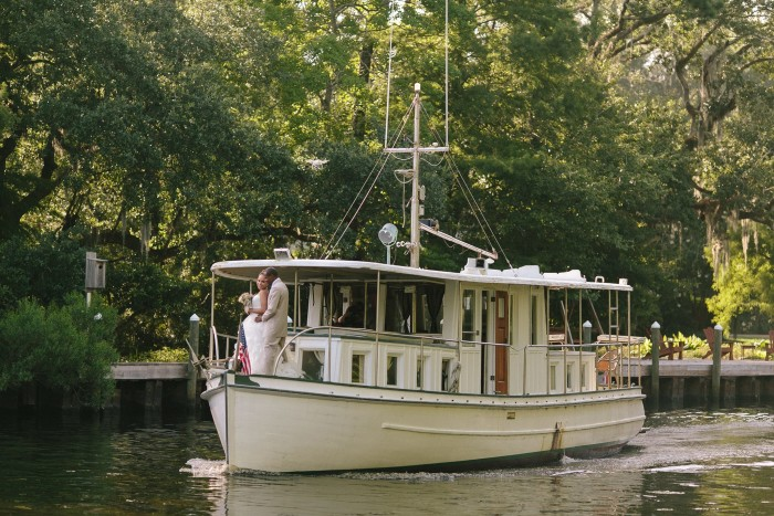 4. Instead of walking down the aisle, you can paddle down the bayou.
